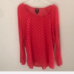 Polka dot hot pink 3/4 length top, xl